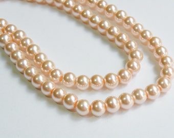 Peachy Pink glass pearl beads round 8mm full strand 7771GB