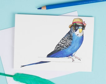 Budgie in a Trilby: A6 Birds in Hats Greetings Card