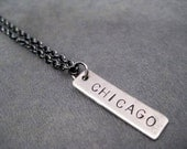 CUSTOM Personalized Pendant Necklace - Name, Date, Race or Small Word Nickel Silver Pendant on Gunmetal Chain - Choose 1-6 Custom Pendants