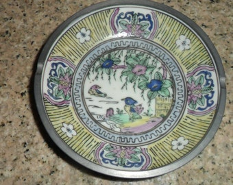 Vintage Japanese Porcelain Ware Bowl, ACF Decorated in Hong Kong Pewter Clad