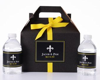 Elegant Wedding Decor - 25 Wedding Favor Box / Welcome Box Labels Gable Wedding Box Set with 50 Water Bottle Labels