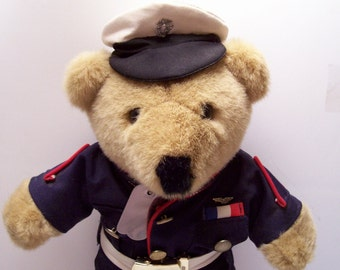 Vintage USMC Bear in Dress Blues with ribbon and wings