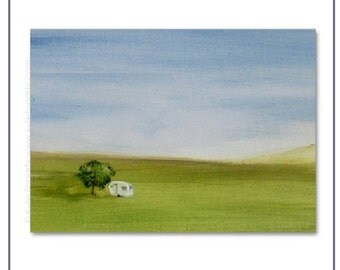 """ACEO Print of Acrylic Painting of """"A Caravan, A Book and A Bottle of Vino"""" by Kylie Fogarty Art"""