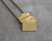 Envelope Locket .. I love you, brass pendant, love letter necklace, romance