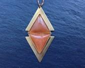 Sale - Red Aventurine Triangle Necklace - Brass