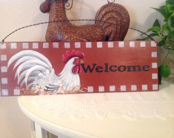 Rooster Metal Sign Housewarming Gift Country Decor Kitchen Decor Rooster Collector..Welcome Sign Chickens Roosters. Hand Painted  Home