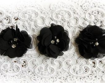 Reneabouquets Flower Set -Fall Colors - Black  Chiffon, Pearl And Rhinestone Fabric Flowers Perfect For Halloween DIY Projects!