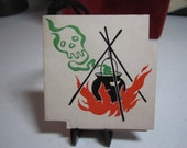 1940's die cut halloween bridge tally card witch's cauldron with ghostly green skull apparition graphics