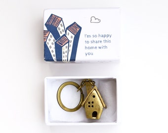 Brass house keychain - Gift for your first home together - house sharing gift -small house keyring - housewarming gift