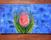 Abstract Rose Bud Oil Hand Painted Magnet ACEO