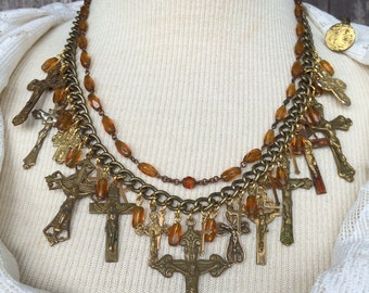 Collected Blessings Assemblage, Collage cross necklace
