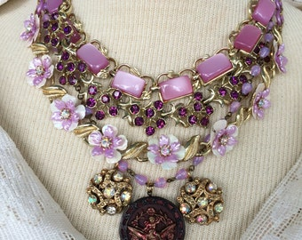 Nearly Orchid Assemblage Necklace, multi-strand, layered