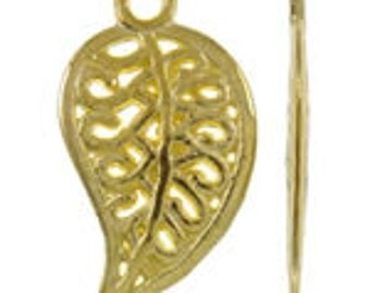 4 PCS Gold Plated  Hallow Leaf Charm Pendant