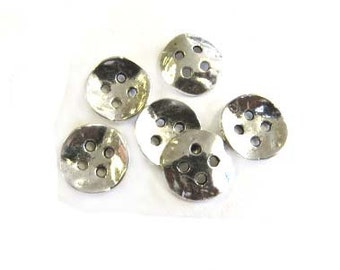 2 Hole Silver Plated Metal Buttons