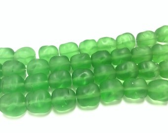 Czech Green Pressed Glass Beads