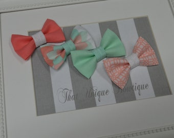 Peach and Mint...Choose Two Photography Prop Bow Ties...Baby Boy Bow Tie...Photography Prop...Newborn Bow Tie...Photo Prop Bow Tie...Bow Tie