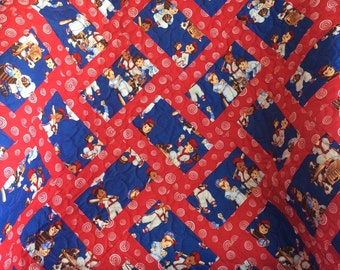 "Red, Blue, Little Boys and Baseball Altogether In This 36"" X 55"" Honeycomb Pattern Quilt"