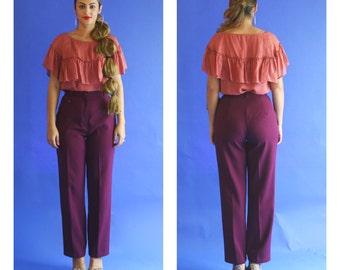 high waisted wide leg trousers/ high waist wine bell bottom trousers/ 1970s/ small - medium