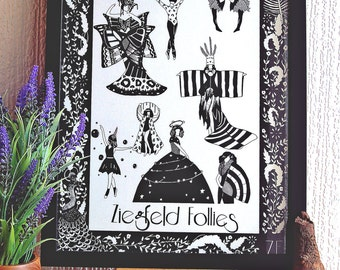 Burlesque Art Print // Ziegfeld Follies Illustration // Pin up Art // Black and White // Decorative wall art // Limited Edition Print