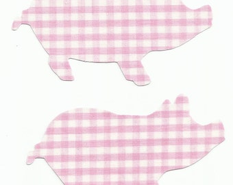 Set of 2 Pink Gingham Pig Fabric Iron On Appliques