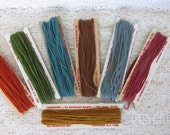 Vintage Needlepoint thread, Rhodalure, bargello, 100% nylon skeins, DIY paper tag ties, needlepoint supplies, chenille like threading, M3