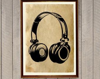 Antique print Headphones poster Vintage home decor AK521