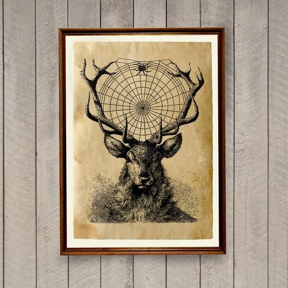 Animal art print Deer poster Rustic home decor AK483