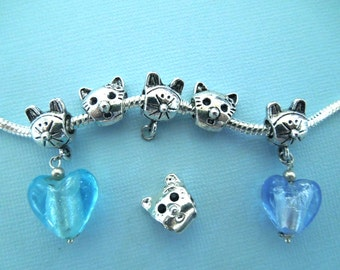 6 Bead Set, Large Hole Beads, Cat Beads, Crab Beads, Pink Beads, Wholesale Price, Store Closing