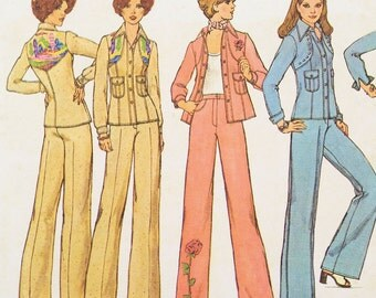 Simplicity vintage pattern 7185, 1970s fashion pantsuit, including transfer for embroidery