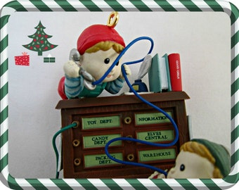 Enesco Dial S for Santa Ornament Office Elves Series 1992 Christmas Tree