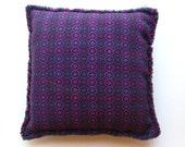 "Vintage 60s Purple Wool Danish Modern Scandinavian 16"" Square Throw Pillow"