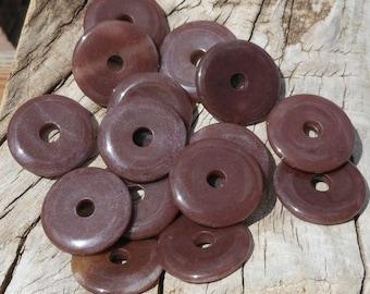 CLEARANCE 1 Dark Dusty Mauve Fancy Jasper Stone Donut Pendant, 30mm, Marbled Colors, Dark Brown Purple, Beading Supplies, Craft Donuts