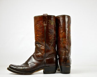 70s Eagle Western Rainbow Stitched Campus Stacked Heel Bohemian Western Biker Boots, 10 Mens