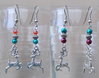 Colored Pearl Crystal Dangle Earrings w/Silver Detailed Reindeer Charm, Handmade Festive Holiday Jewelry, Cute Ladies Office School Gift