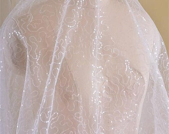 Ivory Bridal Lace Fabric with Sequins  for Bridals, Veils, Gowns