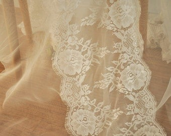 3 Yards Ivory Chantilly Lace Fabric Trim, Bridal Wedding Gown Veil Eyelash Lace Fabric