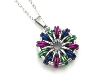 Chainmail pendant necklace - green, violet, and blue round pendant for women, peacock color jewelry