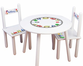 Personalized Child's Cars & Trucks Table Chair Set Toddler Boys Playroom Transportation Nursery Bedroom Chairs Childrens name TABLESETRND223