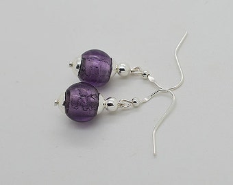 Violet Hand Made Glass Bead Sterling Silver Earrings
