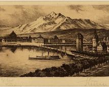 Antique Etching - Lucerne Switzerland - Framed Artwork for Home Decorating - Black and White Vintage Print - Landscape of Swiss Lake Print