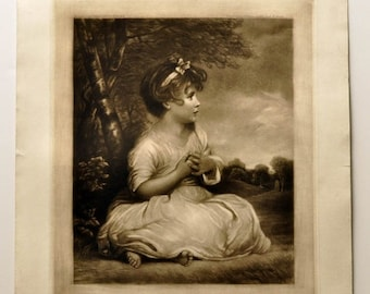 Antique Engraving After Joshua Reynolds Age of Innocence - C. Klackner 1919 - Vintage Art for Girl's Bedroom, Black and White Print