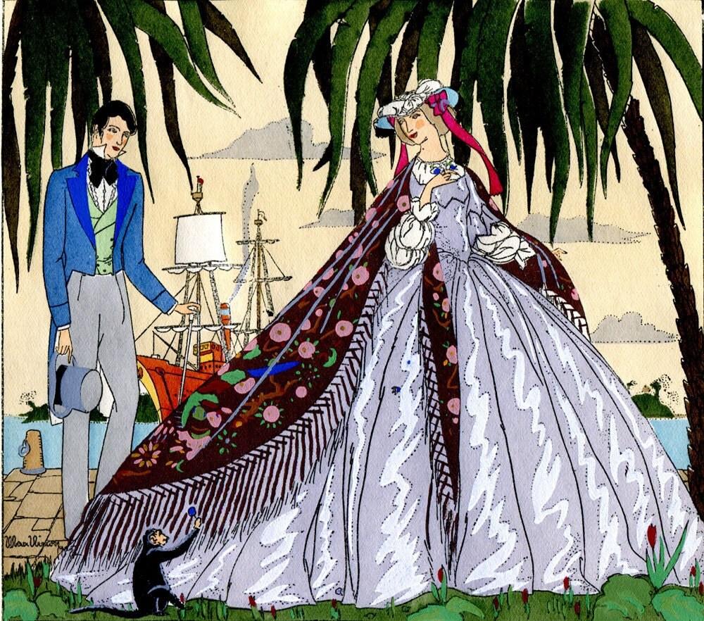 Vintage print french art deco pochoir print man and woman for Pochoir deco