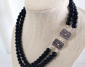 Black Beaded Statement Necklace Front Closure Detailed Clasp Bridesmaid Necklace Black Onyx Bridal