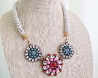 Rhinestone Flower Bib Necklace