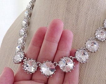 Clear Crystal Rhinestone Statement Necklace