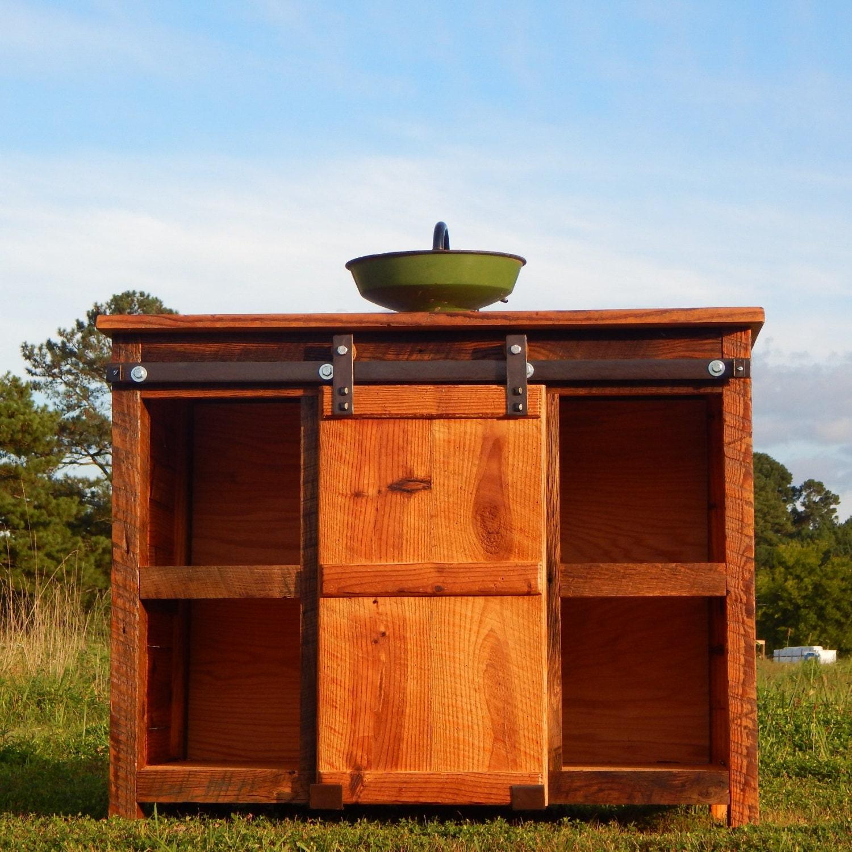 the rusted nail barn door vanity. Black Bedroom Furniture Sets. Home Design Ideas