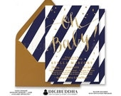 NAVY & GOLD BABY Shower Invitations Oh Baby! Navy Blue Stripe Glitter Confetti Sparkles Boy Invite Free Shipping or DiY Printable- Stella