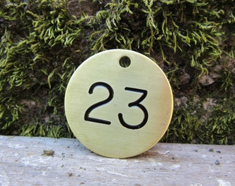 Number 23 Tag Brass Metal #23 Industrial Tag Round Vintage Styled Keychain Token Address House Apartment Number Jewelry Supply 1 1/2 Inch