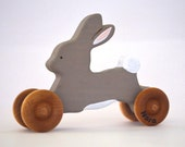 Personalized Wooden Rabbit Toy - Waldorf and Eco Friendly - Gray Bunny Rabbit Wood Toy