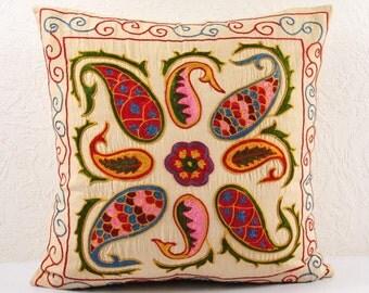 SALE! Handmade Suzani Pillow Cover USP11B, Suzani Pillow, Suzani Throw, Suzani, Decorative pillows, Accent pillows, Small Price